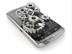 Stock Illustration of settings of mobile phone. gears on the screen.