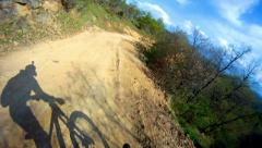 Mountain bike downhill sport race stock video. Stock Footage