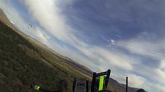 Aerial shot ultralight turning towards mountain HD 0186 Stock Footage
