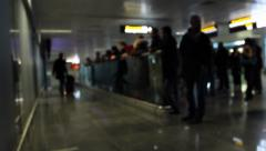 Arrived people coming out to meeting point in airport terminal, click for HD Stock Footage