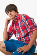 Male teenager in casual outfit Stock Photos