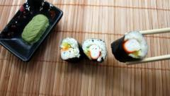 Placing Crab Maki Sushi Stock Footage