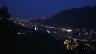 Stock Video Footage of Lit mountain town in night