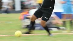 Street summer soccer football on grass, attacking team shoots, click for HD Stock Footage