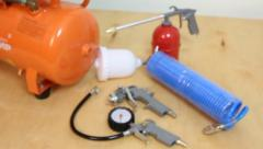 Air compressor with spare parts, click for HD Stock Footage