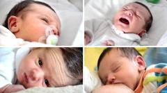 Newborn baby boy, collage Stock Footage