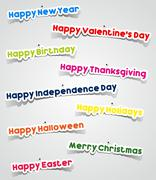 Important Events In A Year Stickers With Needles - stock illustration