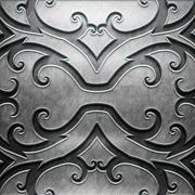 Metal Plate with carved pattern - stock illustration