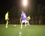 Stock Video Footage of Soccer player giving pass. Forward strikes on goal, click for HD