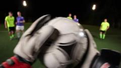 Football team attacks, goalkeeper saves goal in soccer match pov, click for HD Stock Footage