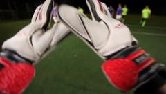 Keeper saves goal in a soccer match. Goalkeeper pov., click for HD Stock Footage