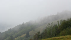 Foggy whether, fog over the forest, beautiful landscape - stock footage