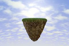 Rock suspended in space Stock Illustration