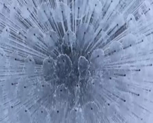 City fountain extreme close-up. Water constantly flowing., click for HD Stock Footage