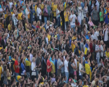 Euro 2012 Kyiv. Applause of people watching football, click for HD Stock Footage