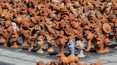Focus out, many different people head sculptures Stock Footage