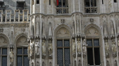 Grandiose architecture, Grand Place Brussels, Belgium, City hall architecture, Stock Footage