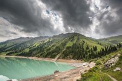 Landscape mountain  lake  central asia almaty Stock Photos