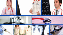medical doctors collage on blue - stock footage