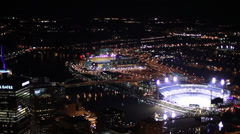 Pittsburgh Aerial PNC Park to Gulf Tower Stock Footage