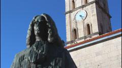 Matija Zmajevic, admiral, sculpture Stock Footage