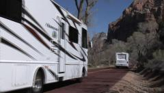 RV Traffic on Zion Canyon Scenic Drive Stock Footage