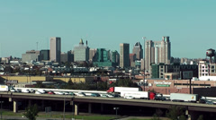 USA Baltimore 036 Skyline, Cityscape seen from Seaport Side - stock footage