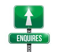 enquires road sign illustration design - stock illustration