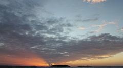 Tropical Paradise Maldives Sunset Time Lapse glowing rays island on horizon HD Stock Footage