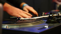 DJ Spinning and Scratching. Stock Footage