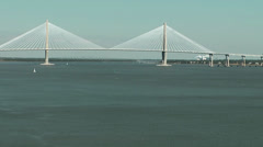 Charleston 004HD East Side, Arthur Ravenel Jr. Bridge Stock Footage