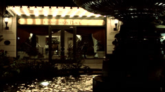 Charleston 049HD Fountain in Front of an Hotel Entrace, Night. Stock Footage