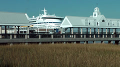 Charleston 042HD Seaport, Part of Cruise Ship between Pavilions Stock Footage