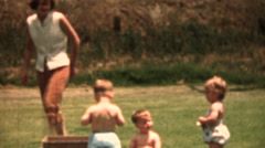 Vintage 1950's Mom and twins - stock footage