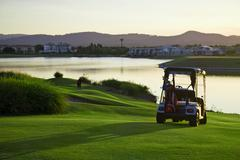 golf course and buggies - stock photo