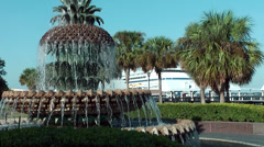 Charleston 044HD Fountain at Seaside, Palms and Cruise Ship - stock footage