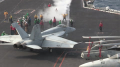 Deck operations, USS Harry S. Truman Launches and Recovers Aircraft Stock Footage