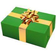 Green Striped Christmas Present - stock illustration