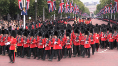 Royal Grenadier Guards marching in the Mall Stock Footage