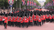 Stock Video Footage of Royal Grenadier Guards marching in the Mall