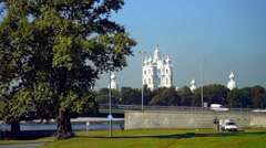Viaduct with cars near Smolny Cathedral, Saint Petersburg Stock Footage