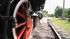 vintage locomotive departs train station - stock footage