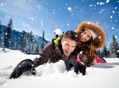 fun in snow - stock photo