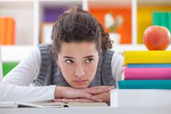 Stock Photo of schoolgirl with learning difficulties