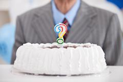 cake with a question mark - stock photo