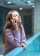 businesswoman talking on the phone - stock photo