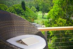 views to golf course from resort - stock photo