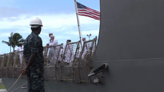 USS Chung Hoon departs Joint Base Pearl Harbor-Hickam Stock Footage