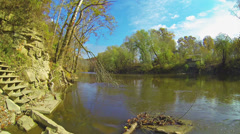 Green River in the Fall Near Canoe Launch Point 1 HD Stock Footage