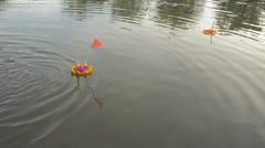 A Bread Krathong Floating By on a Pond in the Loi Krathong Festival Stock Footage